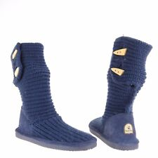 Girl's Bearpaw Knit Tall Shoes Blue Knitted Boots Youth Size 5 M NEW!