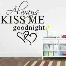 Always Kiss me Goodnight Love Removable Quote Wall Stickers Bedroom Decals