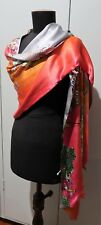 NEW 51cm X 194cm Oblong Double Sided Grey & Pink & Multicoloured Silk Wrap