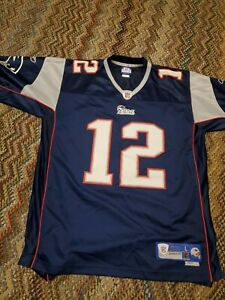 Tom Brady New England Patriots men Home Jersey sz L Reebok stiched patches used