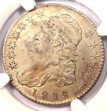 1818/7 Capped Bust Half Dollar 50C - NGC AU Detail - Rare Overdate Coin!