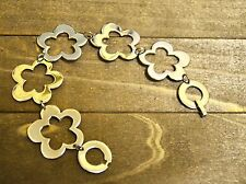 Stainless steel flower cut out link bracelet