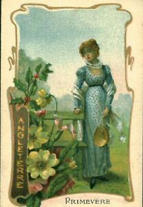 Image ancienne chromo un pays une fleur primevère Angleterre  art nouveau