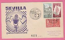 Sur Enveloppe cachet EURO-VISION SEVILLA (Espagne) 5-9-Abril 1962 sur 3 timbres