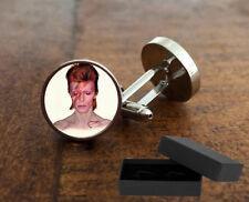 DAVID BOWIE - ALADDIN SANE CUFFLINKS - 3D GLASS LENS FRONT - MENS NOVELTY GIFT