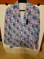 IZOD Boys Blazer Jacket Rosebud Plaid Pink Blue White - Size 18 Reg