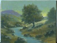 NATURE FOREST STREAM RIVER LANDSCAPE PASTURE MOUNTAIN SUNSHINE OIL ART PAINTING