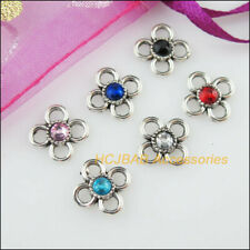 24Pcs Tibetan Silver Mixed Crystal Flower Charms Pendants 11.5mm