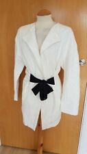 ladies ZARA white jacket size S 12 14 textured Smart Casual Day Tie Front