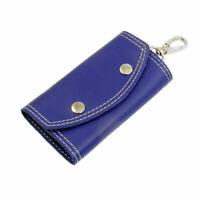 Blue Faux cuero cosido borde 5 gancho de metal clave titular del bolso titular