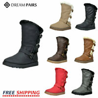 DREAM PAIRS Kids Girls Toddler Faux Fur Lined Mid Calf Fashion Winter Snow Boots