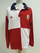 P115 para hombre Adidas Rojo Blanco los Leones L/Manga Rugby Polo Camiseta L EU 52 UK