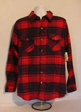 NEW Mens Flannel Button Up Long Sleeve Shirt Large Red Navy Plaid Button Down