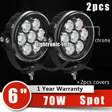 2X 6Inch 70W Round LED Work Driving Light Spot Fog Offroad ATV Boat Jeep Camper