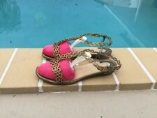 CHRISTIAN LOUBOUTIN GOLD & CLEAR STRAPPY FLAT SANDALS Sz 36 MADE IN ITALY