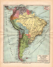 TWO!!! Antique maps. SOUTH AMERICA. POLITICAL & PHYSICAL MAPS. 1893