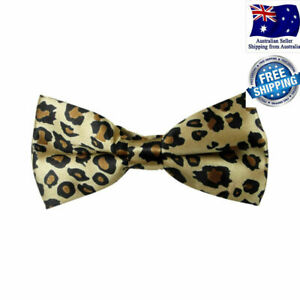 Mens Formal Animal Print Leopard Pre tied Adjustable Poly Satin Bow Tie Bowtie