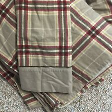 PLAID FLANNELQUEEN Sheets BEIGE RED BROWN  Flat & Fitted 1 Pillow CASE