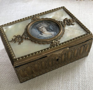 Antique French Gold Box Mother Of Pearl Miniature SIGNED Portrait Bronze? Gold