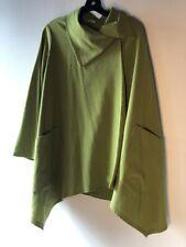 Post Card L Avocado green lagenlook art coat jacket big buttons swing Bin-U