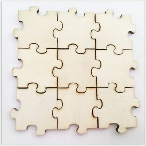 50PCS - 20mm Natural Wood Laser Cut Blank Puzzle - Craft Blank Supplies