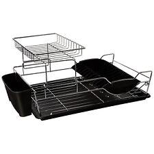 Home Basics 2 Tier Stainless Steel Dish Rack Black