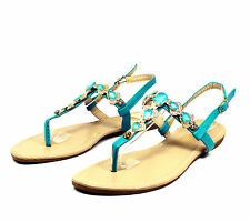 LMK397 T-Strap Thong Toe Gladiator Flats Sandals Women Shoes AQUAMRINE 7.5