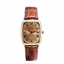PIAGET 9251 18K YELLOW GOLD CASE & DIAL LEATHER BAND MANUAL WINDING MENS WATCH