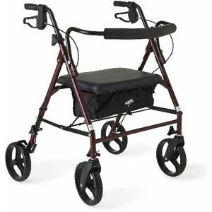 Burgandy Extra Wide Heavy Duty Rollator Walker Up to 500 lbs Capacity Support
