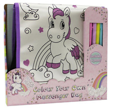 Colour Your Own Unicorn Messenger Travel Bag Handbag & Pens Childrens Craft Kit