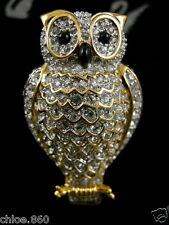 SIGNED SWAROVSKI PAVE' CRYSTAL OWL BIRD PIN~BROOCH RETIRED RARE NEW