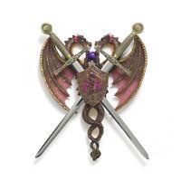 DUAL DRAGON PLAQUE / SWORD & DRAGON COAT-OF-ARMS / MEDIEVAL MYTHOLOGY DISPLAY