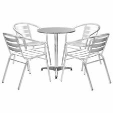 vidaXL 5 Piece Dining Set with Round Table Silver Aluminium Outdoor Furniture