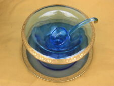 """TIFFIN GLASS  """"MINTON""""  BLUE MAYONNAISE BOWL WITH UNDERPLATE AND LADLE  --  RARE"""