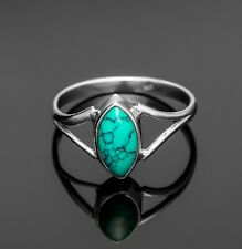 Marquise 925 Sterling Silver Ladies Turquoise Ring Gemstone Gift Boxed Jewellery