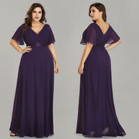 Ever-Pretty Purple Bridesmaid Dresses Cap Sleeve Long Formal Party Gown 09890