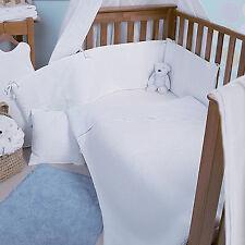 NEW CLAIR DE LUNE WHITE WAFFLE COT / COT BED QUILT & BUMPER UNISEX BEDDING SET
