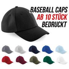 Beechfield Baseball Caps bedrucken lassen ab 10 Stück - Siebdruck
