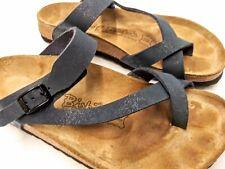 Birki's Birkenstock Sandals Blue Cross Strap Sz EUR 40 wide US 9. Toe loop