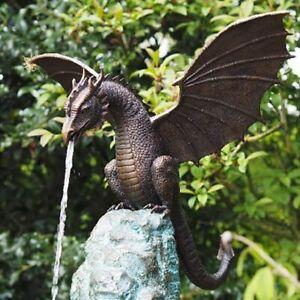 Dragon Statue Water Fountain Sculpture yard Animal Figurine Garden Outdoor Decor