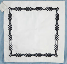 "Pottery Barn Embroidered Border Pillow Cover 18"" White Black Monogrammable New"