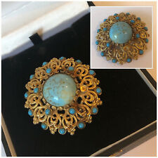 Vintage 1950's Jewellery SPHINX Gold Tone & Turquoise Stone Brooch Pin (AF)