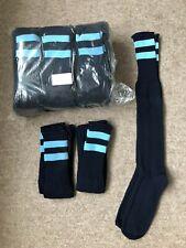 Pack Of 15 PAIRS, MEN'S, navy blue/ sky hoops on turnover FOOTBALL Socks, 7-11