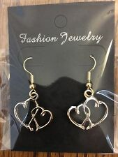 "ONE PAIR OF Gold Tone ""MOTHER & CHILD"" Joined Hearts SHEPHERD HOOK EARRINGS NEW"