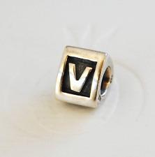 """Genuine Pandora Silver Charm """"Letter V"""" - 790323V - retired"""