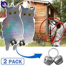 2 Pack Owl Decoy Scare Birds Holographic Reflective Repel Rodent Pest Woodpecker