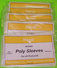 """500 U.S. POSTCARD POLY SLEEVES, HECO SAFE-T #US400, 3 MIL THICK, 3-3/4"""" X 6"""""""