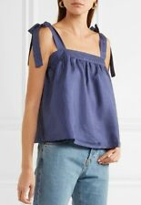 J.CREW Petite tie-shoulder silk top in polka dot Navy Blue White Tank Cami NEW