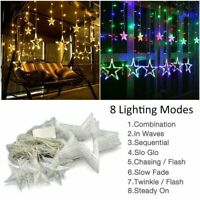 Star Shaped LED Fairy String Lights Curtain Window Bedroom Xmas Party Home Decor