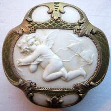 Bonbonnière, boite à bijoux porcelaine biscuit Art Nouveau: Angelot et Papillons